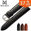 Maikes todo nuevo diseño banda de cuero genuino correa de reloj de 12mm-24mm relojes de pulsera accesorios negro hombres correas de reloj para la marca