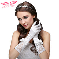 AnXin SH Bride Wedding Dress Wedding Wedding Bridesmaid White Lace Gloves Red Bow Long Gloves 608