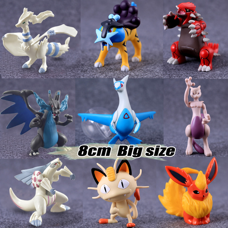 6.5-8cm Big size pika Flareon Meowth anime cartoon action & toy figures Collection model toy KEN HU STORE pokemones