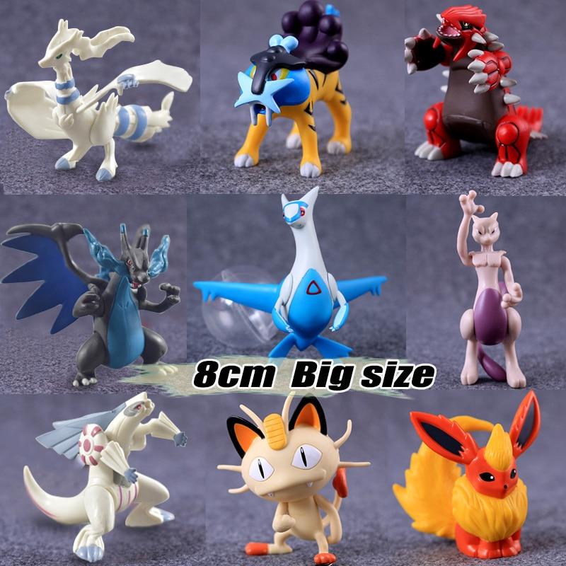 6.5-8cm Big size pika Flareon Meowth anime cartoon action & toy figures Collection model toy KEN HU STORE pokemones