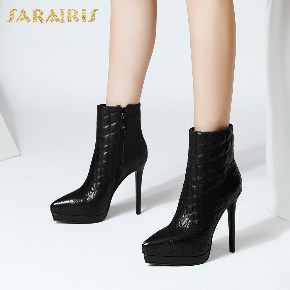 SARAIRIS 2018 Cow Leather Wholesale Platform High Heels Shoes Woman Boots Zip Up Spring Autumn Mid Calf Boots Woman Shoes doratasia 2018 genuine leather zip up cow leather shoes woman martin boots chunky heels wholesale mid calf boots woman shoes