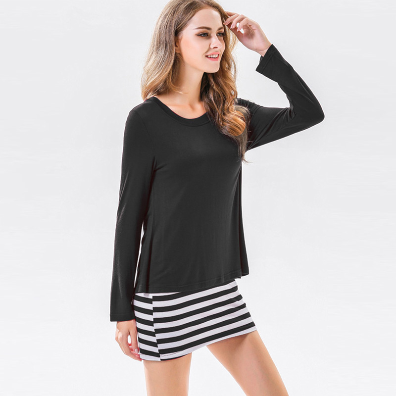 Michael Kors Combo Dresses Saimishi Plus Size S 3XL Combo Dress Long Sleeve Crew Neck Bodycon Dress  Fashion Split Back Striped Hem Women Casual Tee Dress-in Dresses from  Women's ...