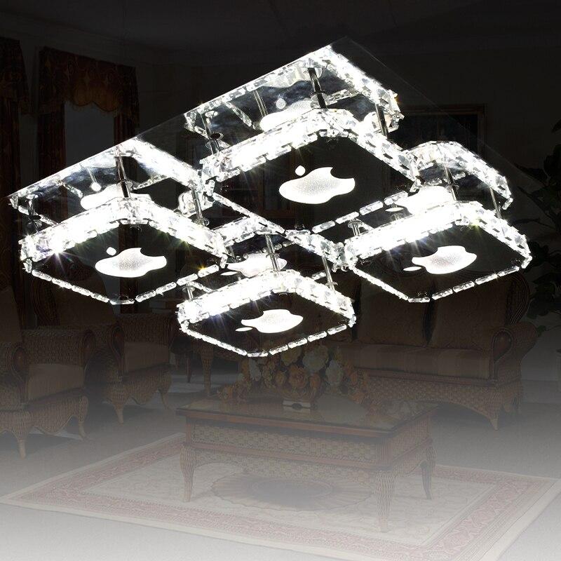 Modern brief led ceiling light lamps living room lights   iphone rectangle crystal lamp lighting