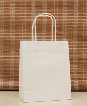 Wholesale 90pcs/lot White Kraft Paper Bag 18x15x8cm Party Favors Jewelry Boutique Gifts Packaging Paper Gift Bags With Handle