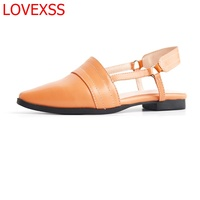 LOVEXSS Sandals Female Pointed 2018 New Summer Low With Women S Shoes Retro Wild British Baotou