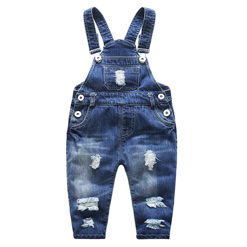 Kids Denim Jumpsuit Baby Boys Overalls Girls New Arrival Bib Pants Children Spring Autumn Jeans Trousers Fashion Shredded Pants spring autumn new cool jeans boys children baby old pants denim pants tide 2 7 ages free shipping loose straight casual solid