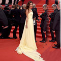 Cannes Festive 2016 Celebrity Dresses Yellow One Shoulder Pleats Side Slit Red Carpet Dresses Chiffon CL-2
