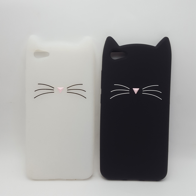 US $2 36 10% OFF|3D Soft Silicone Case for Vivo X6/X7/X9S  Plus/V3/Y66/Y67/Y55/Y51/Y21/Y22 Smile Black Cat Ears Beard Rubber Cover  Phone Cases-in