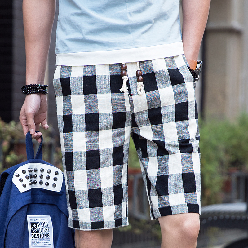 Bermuda Casual Short-Pants Plaid Loose Cotton Men's Beach Straight Summer Brand New Male