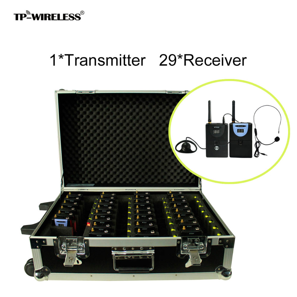 TP-WIRELES 2.4GHz Audio Tour Guide System Wireless Translation System With A Portable Charging Case 1 Transmitter 29 Receivers