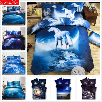 3D Cartoon Blue Sky Sweet Night Kids Duvet Cover Single Full Queen Size 3/4 pcs bedding Set Cotton Bed Linen Bedsheet Pillowcase