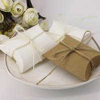 100pcs Pack New Style Kraft Pillow Shape Wedding Favor Gift Candy Box Birthday Party Candy Box