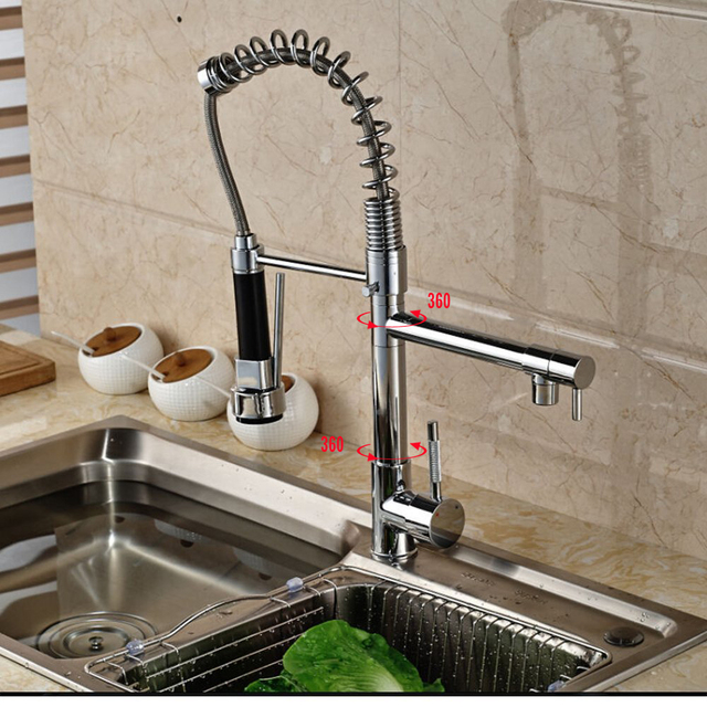Chrome Spring Pull Down Kitchen Faucet Dual Spouts 360 Swivel Handheld Shower Kitchen Mixer Crane Hot Cold 2 Outlet Spring Taps 2