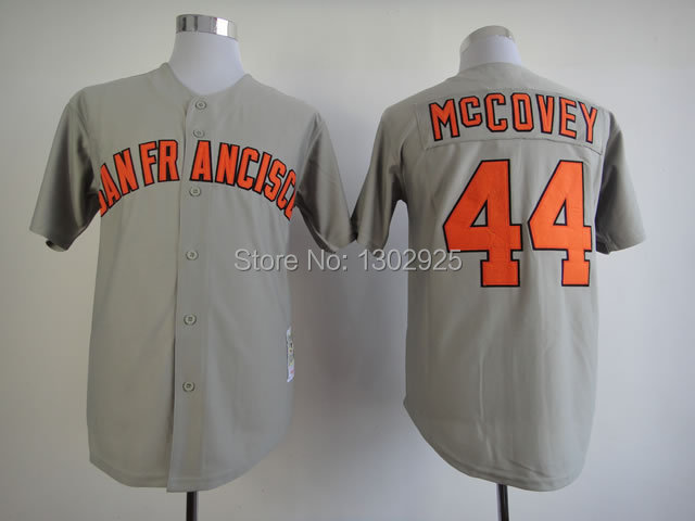 new style 89f5a 2d8e9 Cheap San Francisco Giants SF #44 Willie McCovey Grey Black ...