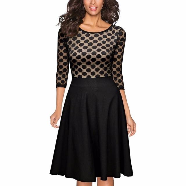 b91922b6236f2 Kadın vintage polka dot optik illusion 2/3 kollu casual salıncak dress  audrey hepburn stil