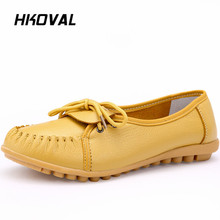 цена на HKOVAL Women Shoes Genuine Leather Loafers Comfortable Woman Flats Slip on Female Driving Low Heel Solid Mother Casual Shoe