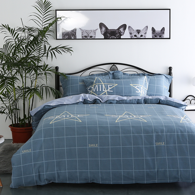 Simple European Style Blue Grid Stars Pattern Home Textiles Bedclothes 4pc Christmas Bedding Sets Cotton Bed Linen Duvet Cover In From