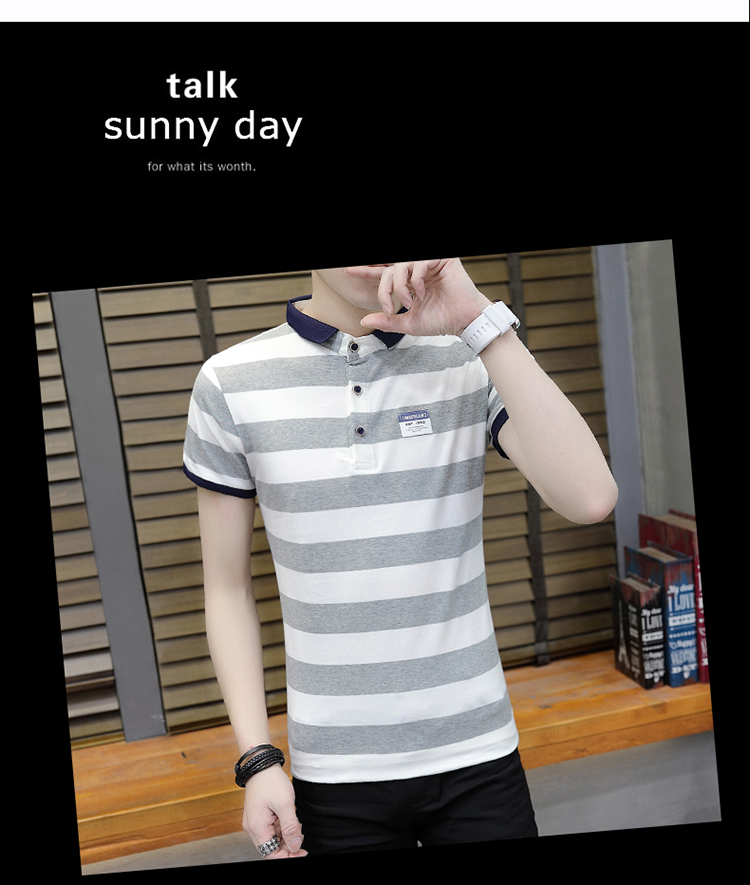New summer high quality striped short sleeve polo shirt men brand clothing fashion Korean casual slim fit male camisa 9018Z 12