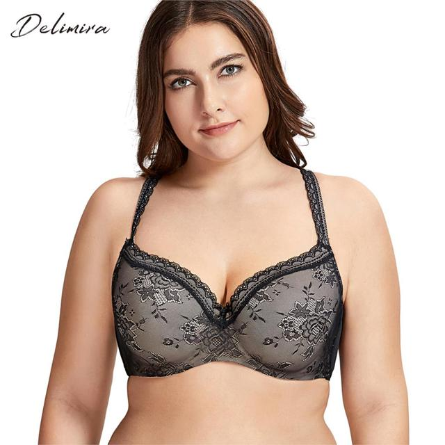 DELIMIRA Womens Full Coverage Lightly Padded Underwire Balconette Lace Bra