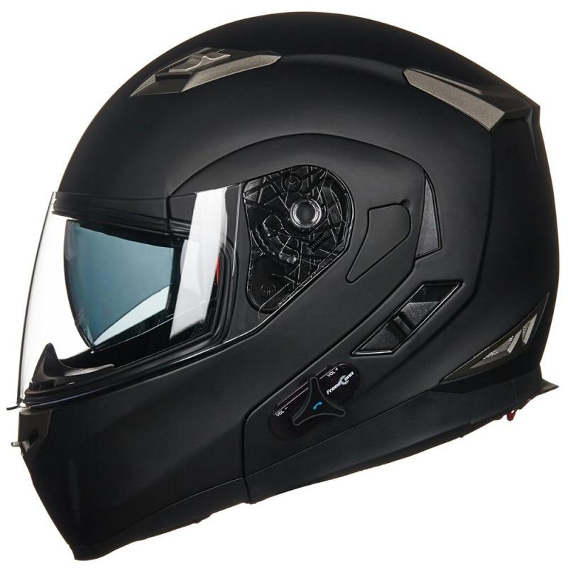ILM Bluetooth Intégré Modulaire Flip up Plein Visage Moto Casque Charge Soleil Bouclier Mp3 Interphone Mat Noir & Rouge & blanc
