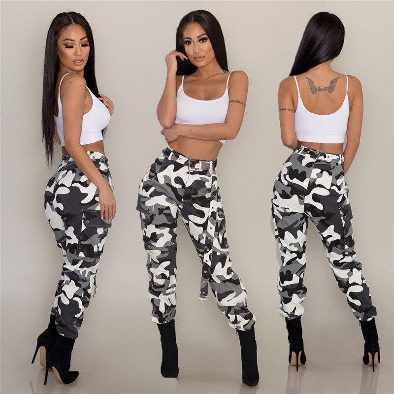 2018 Frühjahr Neue Casual Hosen Frauen Elastische Taille Camouflage Lange Ladung Hosen Hip Hop Dünne Mode Hosen Plus Hohe Taille