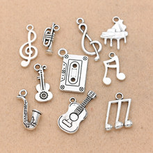 Mix Tibetan Silver Plated Music Note Guitar Trumpet Sax Charms Pendants Jewelry Making Accessories DIY(China)