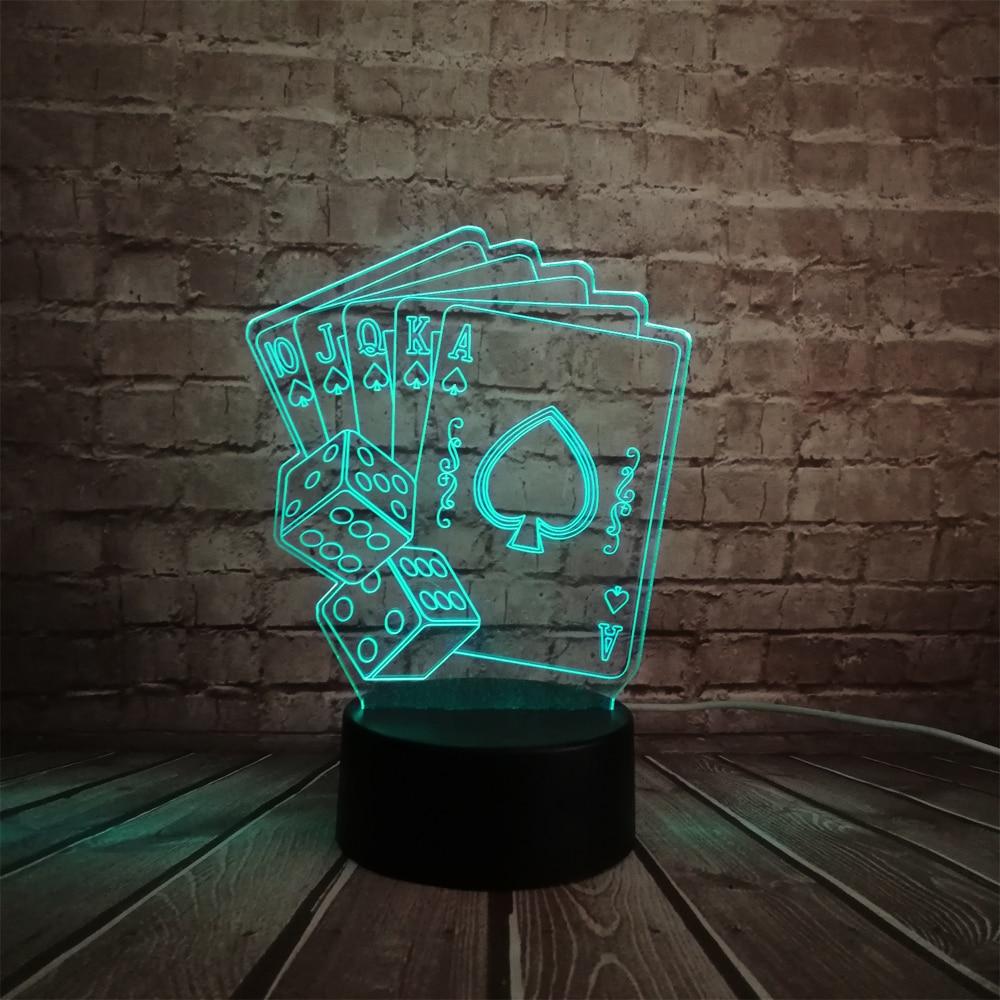 Kreative 3D LED USB Lampe Magier Dekoration TEXAS HOLD EM Würfel ...