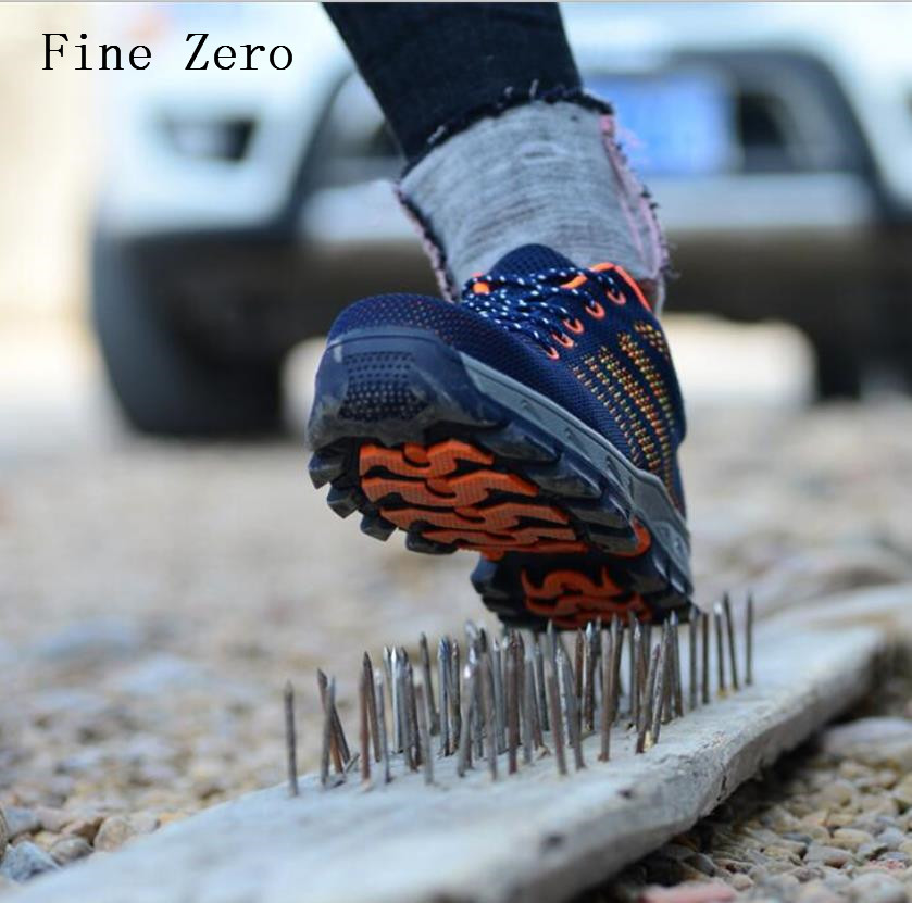Fine Zero Men's Steel Toe Cap Sneakers Safety Shoes Mountain Breathable Outdoor Hiking Boots Puncture Proof Protection Footwear free shipping men steel toe cap work safety shoes reflective casual breathable hiking boots puncture proof protection footwear