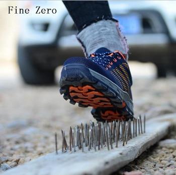 Zapatillas de seguridad de punta de acero fino Zero para hombre, calzado transpirable de montaña para exterior, Botas de senderismo, calzado de protección a prueba de perforaciones