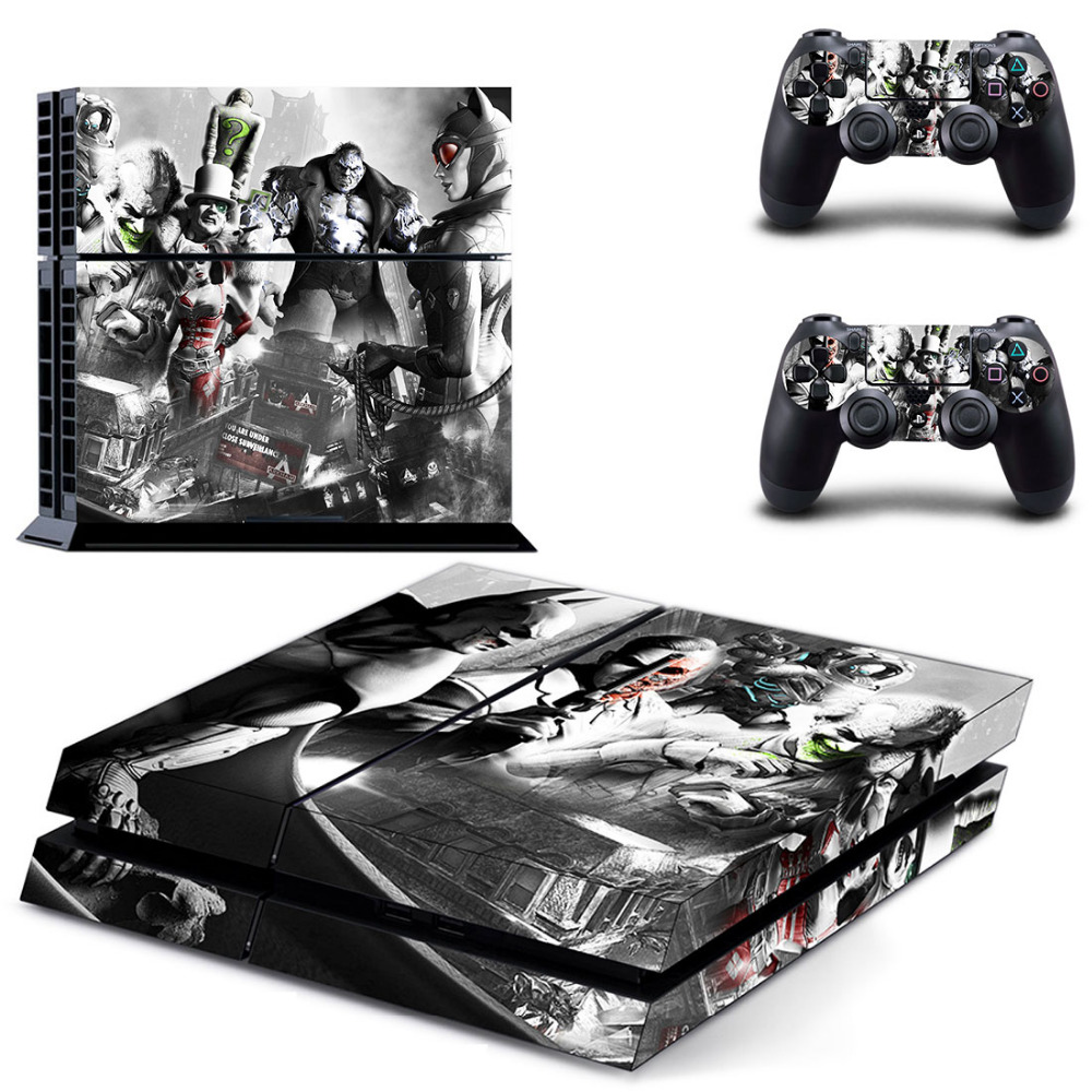 DC Batman Joker Harley Quinn Cat woman PS4 Skin Sticker Decal For Sony PS4 PlayStation 4 Console and 2 Controllers Stickers