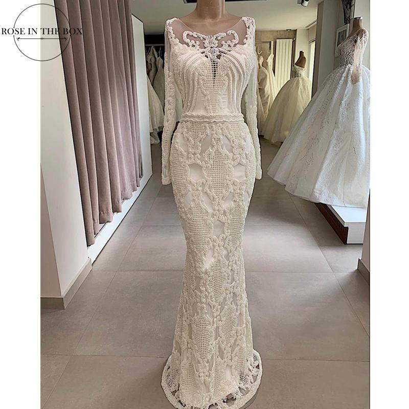 Robe De Mariee Illusion Long Sleeve Mermaid Wedding Dress Pearl Beaded Formal Dress Party Handmade Floor Length Wedding Gowns