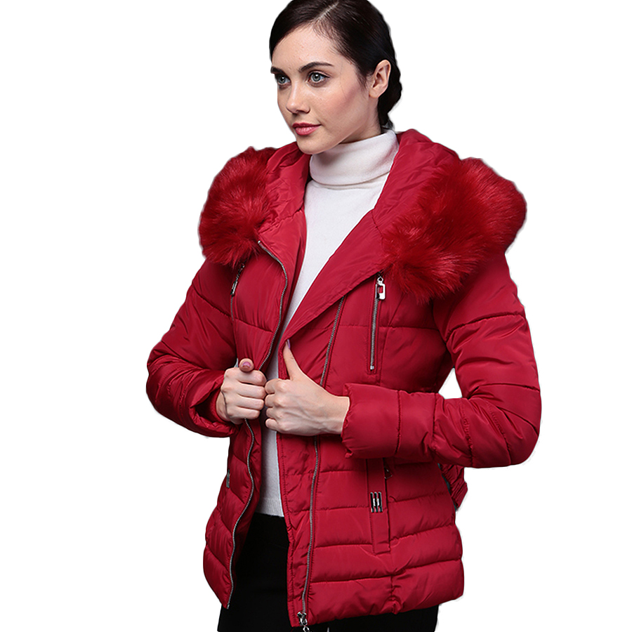 New 2016 Winter Warm Down Cotton Jacket Fashion Women Faux Fur Collar Thick Slim Hooded Plus