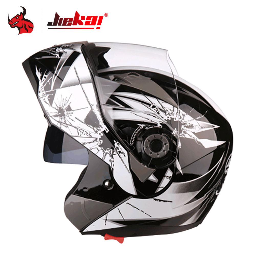 JIEKAI Motorcycle Helmet Men Motocross Helmet Full Face Filp Up Moto Helmets With Inner Sun Visor Racing Motorbike Helmets-in Helmets from Automobiles & Motorcycles    1