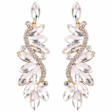 Bella Fashion Sparkling Flower Romantic Bridal Earrings Austrian Crystal Rhinestone Clip-on Earrings For Wedding Party Jewelry