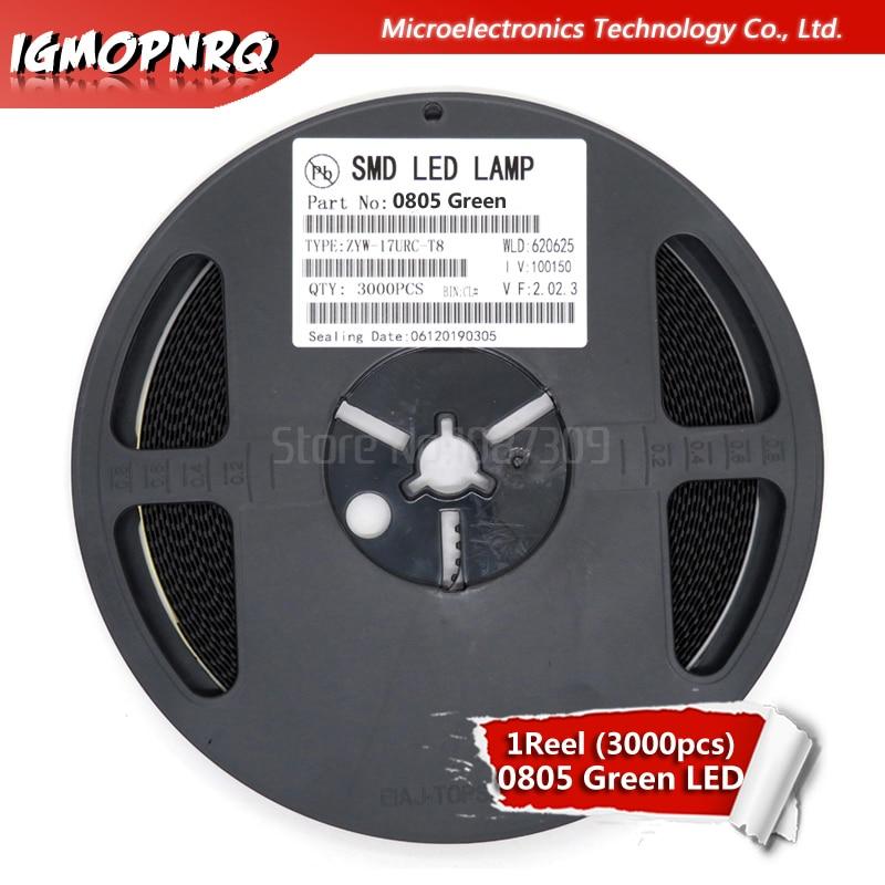 1reel 3000pcs Green 0805 SMD LED Diodes Light