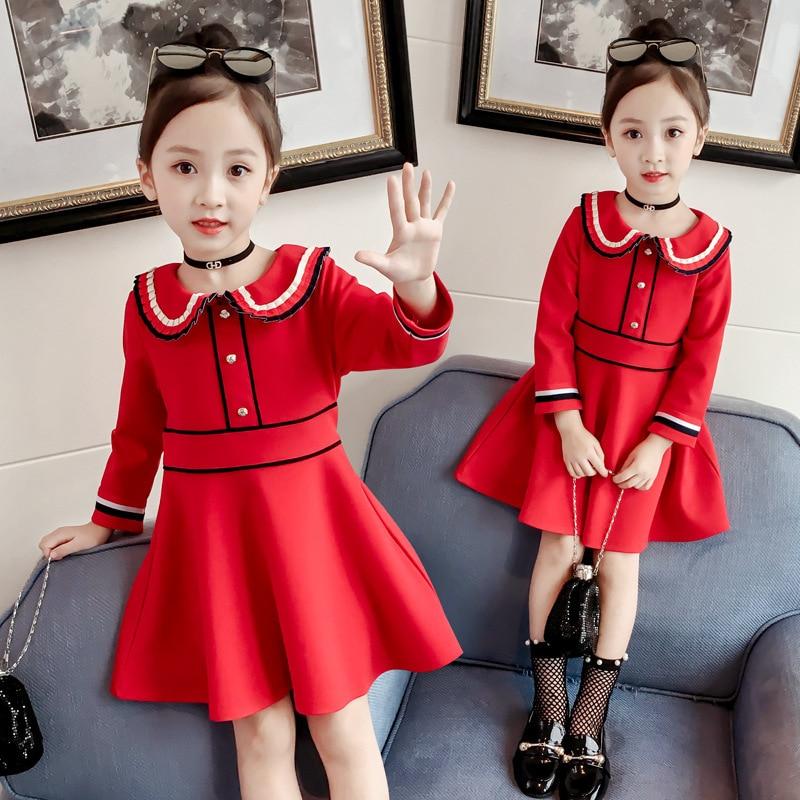 Girls dresses autumn models 2018 New Fashion princess Dresses red color children's dresses clothing недорго, оригинальная цена