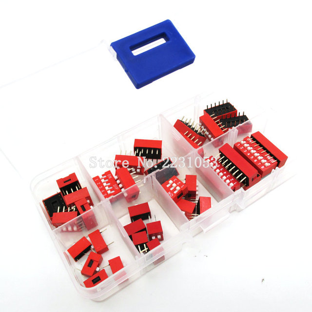 Kit de commutateurs plongeants en boîte | Lot de 35, interrupteur à bascule Dip, 1 2 3 4 5 6 8 voies 2.54mm, commutateurs à pression rouge, Kit mixte ensemble de 5 pièces