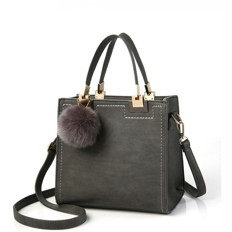 DAUNAVIA Brand Top Handle Bags Women Leather Handbags Large Solid Shopping Tote With Tassel Fur Ball