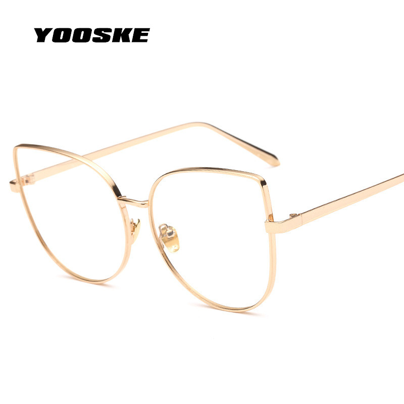 YOOSKE Cat Eye Glasses Frame Women Clear Lens Eyeglasses Transparent HD Lenses Eye Glasses Optical Glasses Cateyes Eyewear