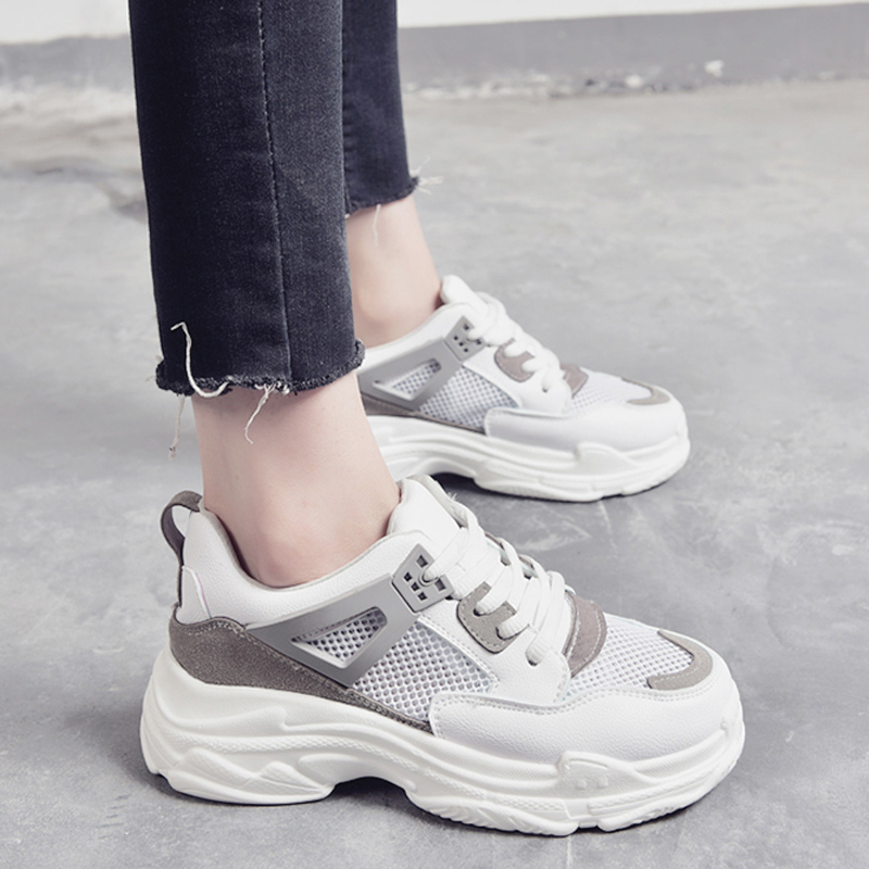 rose Gris Casual Mesh Sneakers Mode Papa À Up Creux Chaussures Automne Wedge Femmes Talons Plate Air Lace forme TSaxqqg4