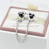 Fashion S925 Sterling Silver Bead Mickey and Minnie Mouse Safety Chain Charms Fit European DIY Bracelets Necklace Jewelry Making