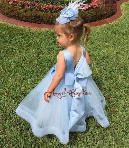2017 Sweet Blue tutu flower girl dresses crystal flower tulle empire toddler pageant birthday dress for evening party with bow