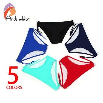 Andzhelika New 2018 Swimming Brief Sexy Straps Bikini Brief Bottom Swimwear Solid Brazilian Bikini Bottom Trunks Beach Underwear