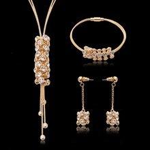 Hot Sale Europe Brand Rhinestone Filled Tassel Chokers Necklace Earrings Bracelet Jewelry Sets Bride Wedding Statement Jewelry