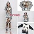 2016 зима 3d тигр панда шаблон sweatershirt для мальчики девочки дети тенниска детская одежда kikikids бобо выбирает