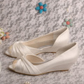 Wedopus MW494 Ivory Satin Wedge Heel Ladies Wedding Bridal Shoes Peep Toe