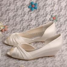 Wedopus MW494ไอวอรี่ซาตินลิ่มส้นรองเท้าสุภาพสตรีจัดงานแต่งงานเจ้าสาวP Eep Toe