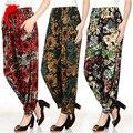 Новые Женщины повседневная шелковые шаровары высокой талией брюки танец клуб широкую ногу свободные длинные шаровары брюки плюс размер Тонкий раздел