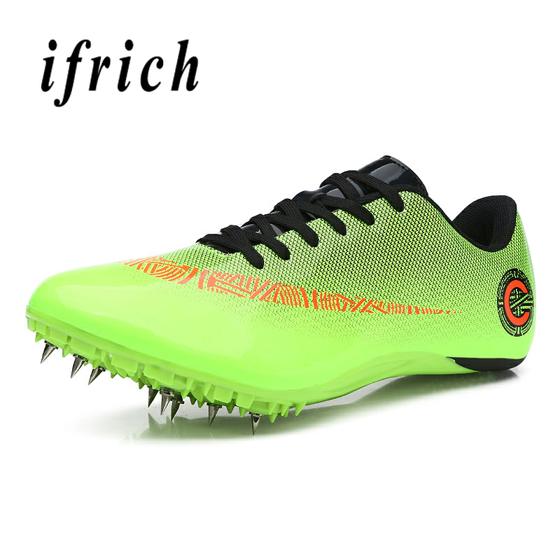 Couples Spikes Shoes Running Green Blue Athletics Spike Shoes Lace Up Men Women Outdoor Tracking Shoes
