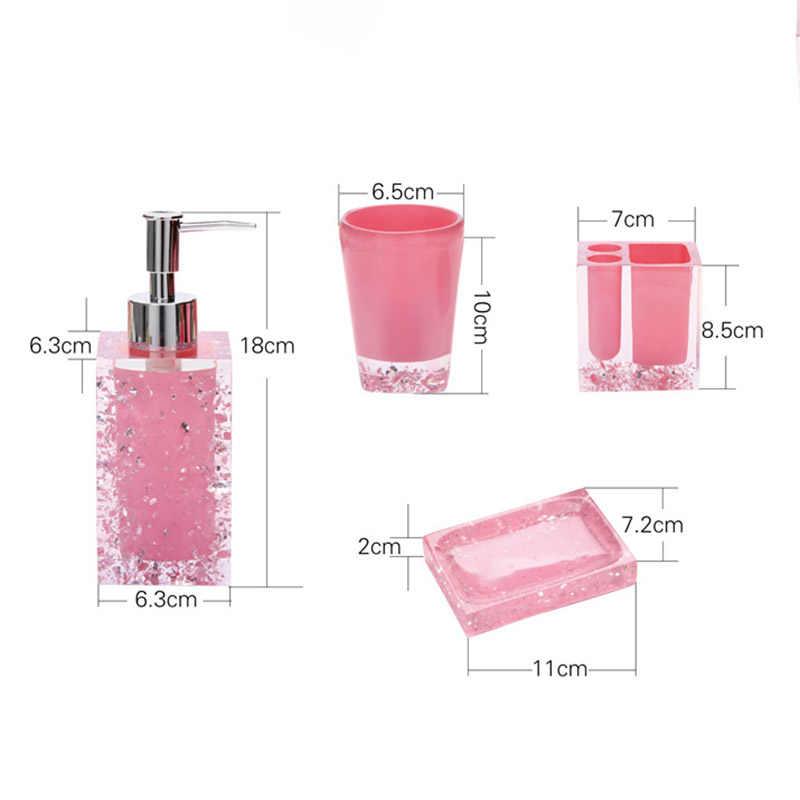 ONEUP 5/szt kryształ łazienka komplet garniturów kąpieli akcesoria łazienkowe uchwyt na szczoteczki do zębów balsam butelka apartament typu Suite łazienka zestaw do kąpieli akcesoria